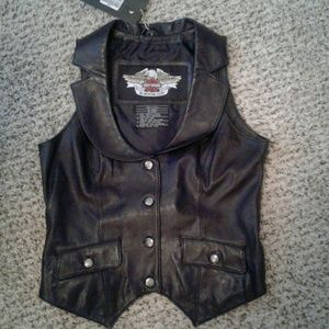 RARE: Harley Davidson Blinged Leather Vest